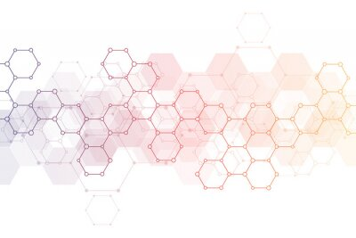Naklejka Abstract background of science and innovation technology. Technical background with hexagons pattern and molecular structures.