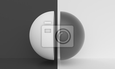 Abstract background with black and white half ball. Backdrop design for product promotion. 3d rendering