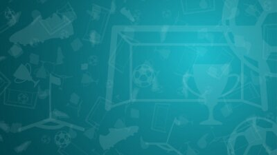 Naklejka Abstract background with soccer elements for championship. Cup, goal, ball, football boots, flag on a blue background. Template 2021. Vector