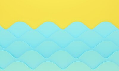 Abstract background with yellow beach and sea wave. 3d rendering