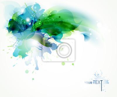 Abstract background z plamami niebieski i zielony