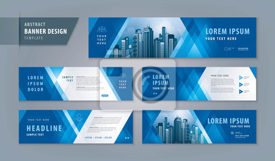 Naklejka Abstract banner design web template Set, Horizontal header web banner