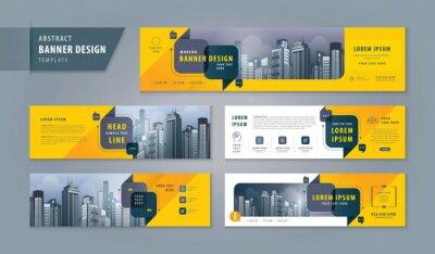Naklejka Abstract banner design web template Set, Horizontal header web banner. Modern cover header