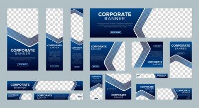Naklejka Abstract banner design web template Set, Horizontal header web banner. Modern Gradient Blue cover header background for website design, Social Media Cover ads banner, flyer, invitation card