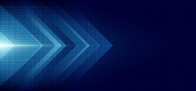 Naklejka Abstract blue arrow glowing with lighting and line grid on blue background technology hi-tech concept