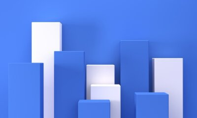 Abstract blue background with white rectangles podiums for cosmetics. Backdrop design for product promotion. 3d rendering
