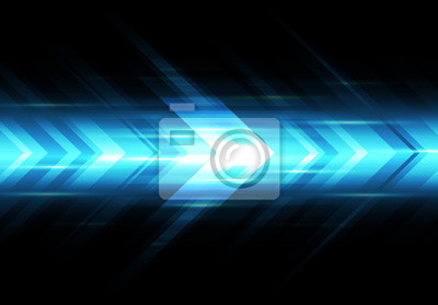 Naklejka Abstract blue light arrow speed power technology futuristic background vector illustration.