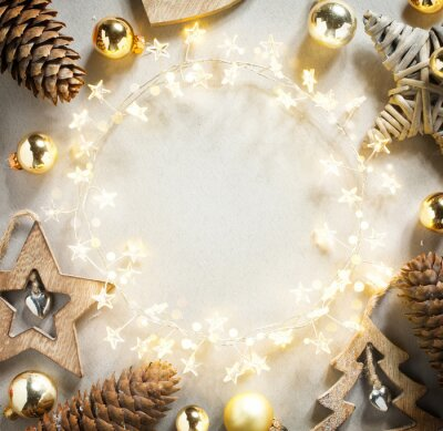 Abstract Christmas Tree Holiday Light garland and Christmas Decoration on White Background; Banner frame backdrop