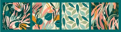 Naklejka Abstract collection of seamless patterns with tropiclal leaves . Vector design