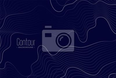 Naklejka abstract contour lines on dark blue background