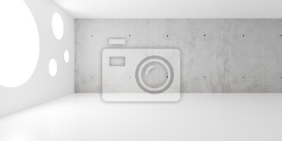 Abstract empty, modern concrete backwall room with round windows - industrial interior background template, 3D illustration