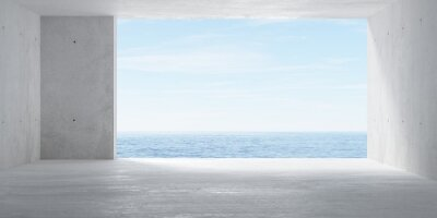 Abstract empty, modern concrete room with big opening with ocean view and sun on the back wall and rough floor - industrial interior background template