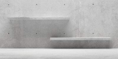 Abstract empty, modern concrete room with blank shelves on back wall - industrial interior product presentaion background template