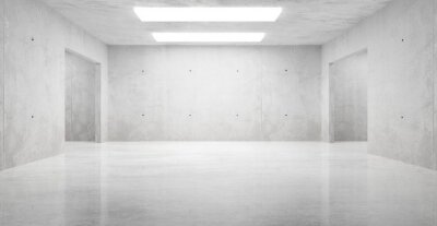 Abstract empty, modern concrete room with ceiling lights and shiny floor - industrial interior background template, 3D illustration