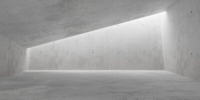 Abstract empty, modern concrete room with indirect lighting from ceiling on back wall - industrial interior background template, 3D illustration