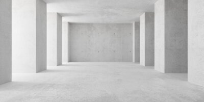Abstract empty, modern concrete room with indirect lighting from left side pillars - industrial interior background template, 3D illustration