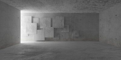 Abstract empty, modern concrete room with indirect lighting from side wall and irregular square pattern backwall - industrial interior background template