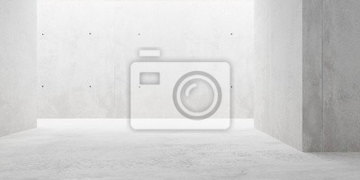 Abstract empty, modern concrete room with indirect lighting from side wall - industrial interior background template, 3D illustration