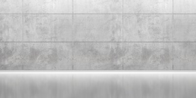 Abstract empty, modern concrete room with indirect lighting from top, plated back wall, and polished floor - industrial interior background template
