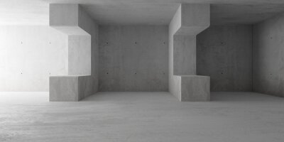 Abstract empty, modern concrete room with indirect lighting, room dividers and rough floor - industrial interior background template