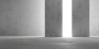 Abstract empty, modern concrete room with indirect lit backwall from behind - industrial interior or gallery background template, 3D illustration