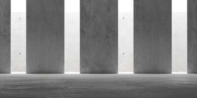Abstract empty, modern concrete room with indirect lit backwall from top and pillars - industrial interior or gallery background template, 3D illustration