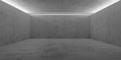 Abstract empty, modern concrete room with indirect lit ceiling - industrial interior background template, 3D illustration