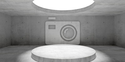 Abstract empty, modern concrete room with lighting from circular window in ceiling and platform - industrial interior background template, 3D illustration