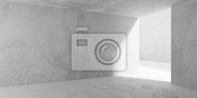 Abstract empty, modern concrete room with side light and rough floor - industrial interior background template, 3D illustration