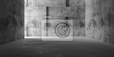Abstract empty, modern concrete room with sidelit back polygonal cube wall - industrial interior background template, 3D illustration