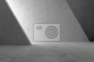 Abstract empty, modern concrete room with sidelit back triangle wall - industrial interior background template, 3D illustration