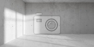 Abstract empty, modern concrete room with sidelit backwall from window - industrial interior background template, 3D illustration
