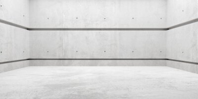 Abstract empty, modern concrete room with soft lighting and walls with joints - industrial interior background template, 3D illustration