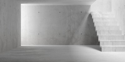 Abstract empty, modern concrete room with staircase and indirect lighting from top - industrial interior background template