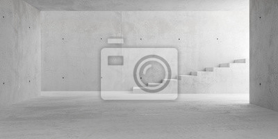 Abstract empty, modern concrete room with stairs and lighting from side wall - industrial interior background template, 3D illustration