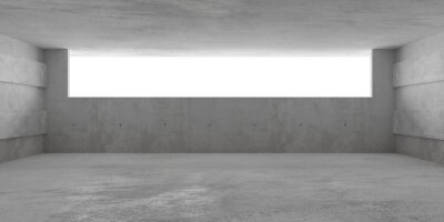 Abstract empty, modern concrete room with wide opening on the back wall and rough floor - industrial interior background template