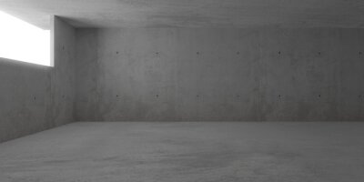 Abstract empty, modern concrete room with window opening on the left wall and rough floor - industrial interior background template