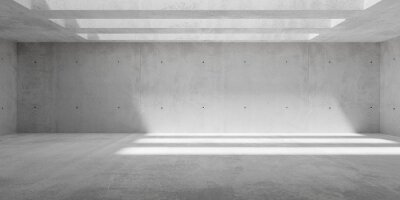 Abstract empty, modern concrete walls hallway room with ceiling light shadows and rough floor - industrial interior background template