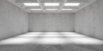 Abstract empty, modern concrete walls hallway room with grid ceiling light shadows and rough floor - industrial interior background template