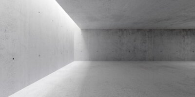 Abstract empty, modern concrete walls hallway room with indirekt ceiling light on the left and rough floor - industrial interior background template