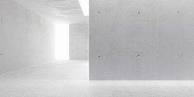 Abstract empty, modern concrete walls hallway room with indirekt ceiling lights and backwall opening - industrial interior background template