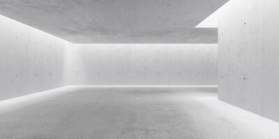 Abstract empty, modern concrete walls hallway room with indirekt ceiling lights and rough floor - industrial interior background template