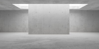 Abstract empty, modern concrete walls room with indirekt ceiling light and center wall - industrial interior background template