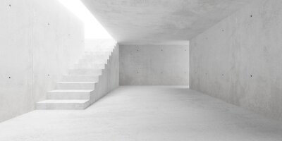 Abstract empty, modern concrete walls room with stairs and indirect lit from above - industrial interior or gallery background template