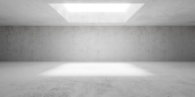 Abstract empty, modern, wide concrete walls hallway room with indirekt ceiling light - industrial interior background template
