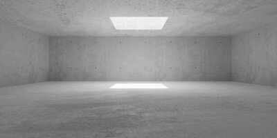 Abstract empty, modern, wide concrete walls hallway room with indirekt ceiling light opening - industrial interior background template