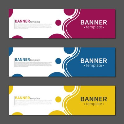 Naklejka Abstract geometric design banner web template. Vector liquid shape layout banners. Template ready for use in web or print design.