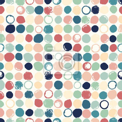 Abstract geometric seamless pattern with circles spots pastel colors. Vector illustration in retro style.