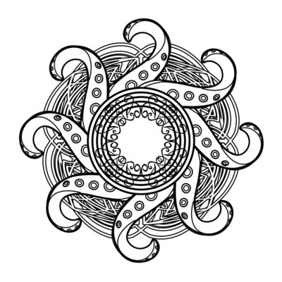 Naklejka Abstract gothic mandala with celtic tracery and octopus tentacles