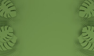 Abstract green background with tropical leaves and copy space. 3d rendering